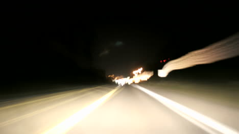 A-timelapsed-pointofview-shot-of-driving-on-an-Oregon-highway-at-night