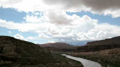 Timelapse-shot-of-clouds-passing-over-the-Colorado-River-in-Glen-Canyon-National-Recreation-Area