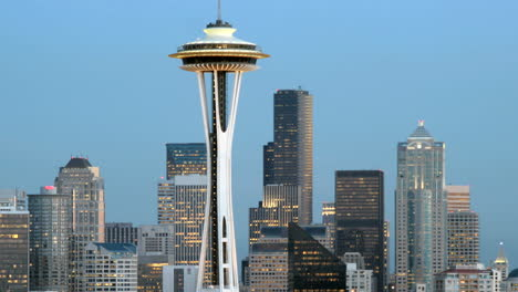 Slow-leftpan-of-the-Seattle-Space-Needle-and-the-surrounding-buildings-in-Seattle-s-skyline