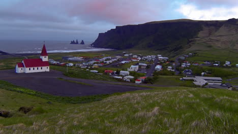 A-church-overlooks-a-small-Iceland-village