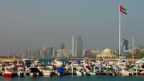 A-harbor-in-Abu-Dhabi-in-the-United-Arab-Emirates-skyline-background