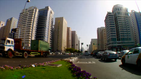 Time-lapse-of-traffic-on-streets-in-Abu-Dhabi-in-the-United-Arab-Emirates