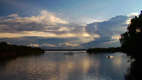 A-motorboat-passes-quickly-along-the-Amazon-River-in-Brazil