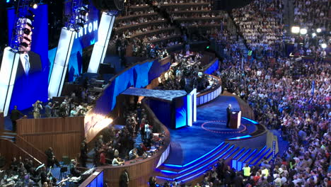 A-Pan-To-A-Wide-Shot-Of-The-Pepsi-Center-As-Former-President-Bill-Clinton-Addresses-The-Crowd-On-The-Positive-Features-Of-Presidential-Nominee-Barack-Obama