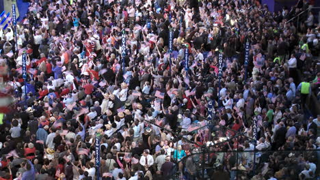 The-Crowd-At-Pepsi-Center-Gives-Former-President-Bill-Clinton-A-Standing-Ovation-As-They-Wave-Flags-And-Cheer-During-The-Democratic-National-Convention