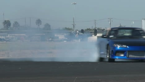 A-Blue-Car-Glides-Through-A-Drifting-Course-At-Camarillo-Airport-In-Camarillo-California