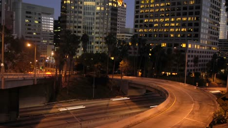 Traffic-Moves-In-Time-Lapse-Along-A-Freeway-In-Downtown-Los-Angeles