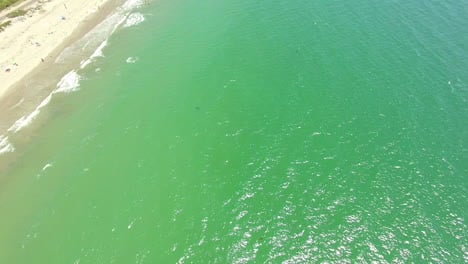 An-Aerial-Over-A-California-Beach-With-A-Great-White-Shark-Swimming-Offshore