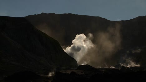 A-volcano-erupts-in-silhouette-on-the-small-New-Zealand-Island-of-Whaakari
