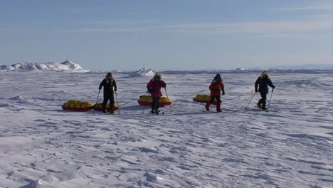 An-Arctic-expedition-moves-across-frozen-tundra-on-cross-country-skis-towing-supplies