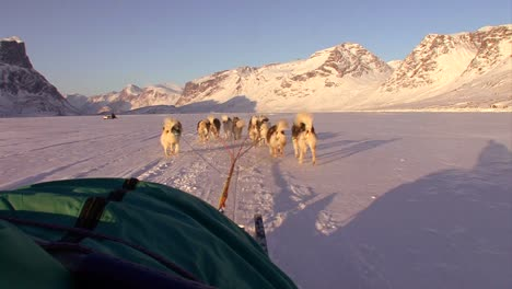 A-POV-shot-from-a-dogsled-heading-across-the-Arctic-tundra