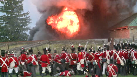 Men-fight-on-the-battlefield-and-from-ships-in-this-television-style-reenactment-of-the-War-of-1812