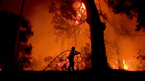 A-Firefighter-Stands-In-Silhouette-And-Fights-A-Huge-Hillside-Blaze-During-The-Holiday-Fire