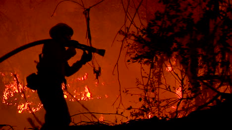 A-Firefighter-Stands-In-Silhouette-And-Fights-A-Huge-Hillside-Blaze-During-The-Holiday-Fire-In-Goleta-California