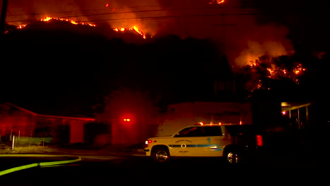 A-Hillside-Neighborhood-In-Ventura-California-Is-Threatened-At-Night-During-The-Thomas-Fire