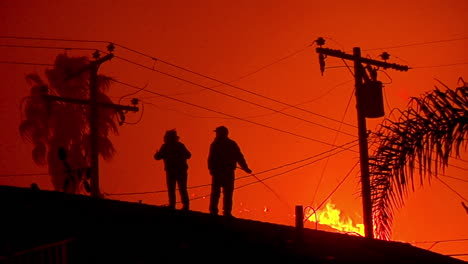Residents-Water-Down-Their-Homes-Roofs-And-Yards-As-The-Thomas-Fire-Approaches-In-The-Hills-Of-Ventura-And-Santa-Barbara