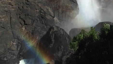 A-Dramatic-Panoramic-View-Of-A-Waterfall-From-The-Spray-At-The-Bottom-To-The-Top-Where-The-Water-Cascades-Over-The-Edge