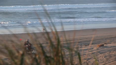 A-Dirtbiker-Pops-A-Wheelie-On-A-Sandy-Beach-With-No-One-Around-To-Admire-His-Skill