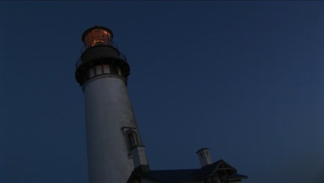 A-Wormseye-View-Of-A-Lighthouse-Tower-And-Beacon-At-Night