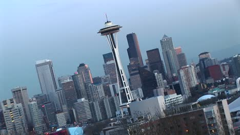 Angled-Aerial-View-Of-Seattle-S-Landmark-Space-Needle-And-Other-Downtown-Skyscrapers