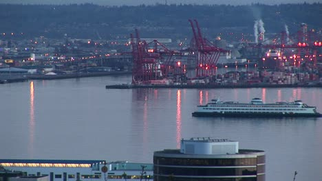 A-Cruise-Ship-Slowly-Makes-Its-Way-Through-Seattle-S-Busy-Harbor-In-The-Golden-Hour