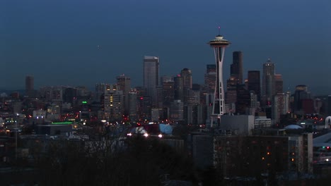 Seattle-S-Landmark-Space-Needle-Is-A-Standout-In-This-Evening-Skyline-Shot