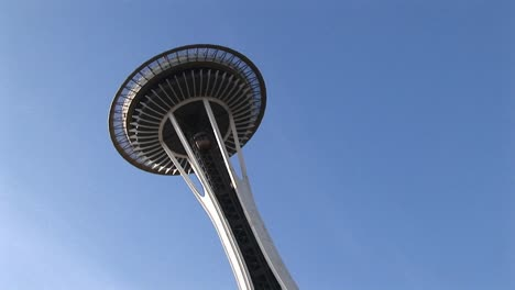 A-Closeup-Of-Seattle-S-Landmark-Space-Needle-From-Below