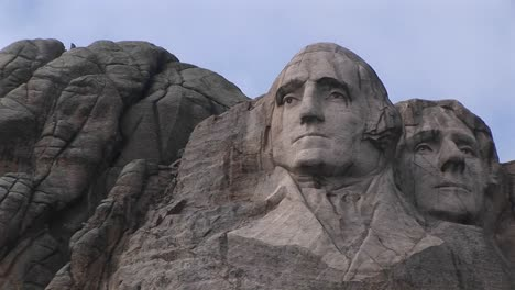 The-Camera-Focuses-On-The-Serene-Expression-Of-George-Washington-In-This-Closeup-View-Of-Mt-Rushmore