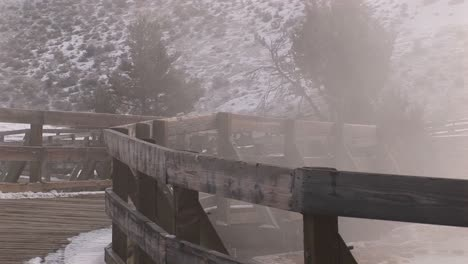 A-Montage-Of-Tourist-Walkways-In-Winter-Near-The-Hot-Springs-In-Yellowstone-National-Park