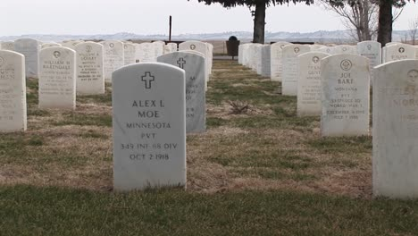 The-Camera-Pans-Right-Across-Rows-Of-White-Headstones-In-An-Old-Military-Cemetery
