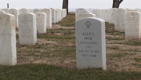 The-Camera-Pans-Across-The-Rows-Of-Headstones-At-Arlington-National-Cemetery