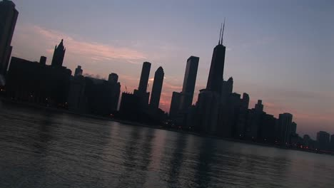 Tilt-Shot-Of-The-Chicago-Skyline-From-Lake-Michigan-At-Sunset