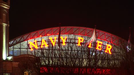 Camera-Zooms-In-On-Chicago-S-Famed-Navy-Pier-At-Night