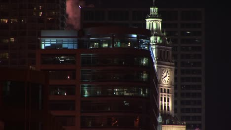 The-Clock-Tower-Of-The-Famed-Wrigley-Building-In-Chicago-Is-Illuminated-At-Night