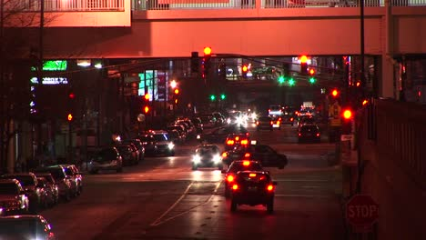 A-Busy-Downtown-Scene-At-Night-With-Congested-Traffic
