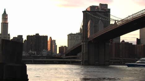 A-Look-At-The-Brooklyn-Bridge-Connecting-Brooklyn-With-Manhattan-Includes-Nice-Footage-Of-A-Ferry-Boat