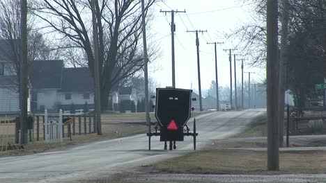 An-Amish-Horse-And-Carriage-Travel-Along-A-Quiet-Country-Road-In-Winter
