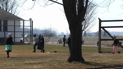 A-Group-Of-Amish-Boys-And-Girls-Are-Playing-Baseball-Outdoors-In-The-Fall