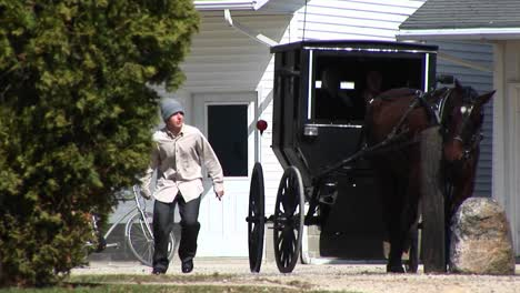 An-Amish-Boy-And-Girl-Prepare-To-Travel-Via-Their-Horse-And-Buggy