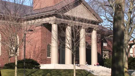 The-Camera-Pans-Up-This-Classic-Architectural-Style-Church-On-Harvard\-S-Campus