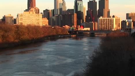 A-Pan-Up-From-The-River-During-The-Goldenhour-Captures-The-Striking-Beauty-Of-Some-Of-Centercity-Chicago-S-Renowned-Skyscrapers