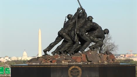 The-Camera-Slowly-Pansup-The-Iwo-Jima-Marine-Corps-Memorial-To-The-American-Flag