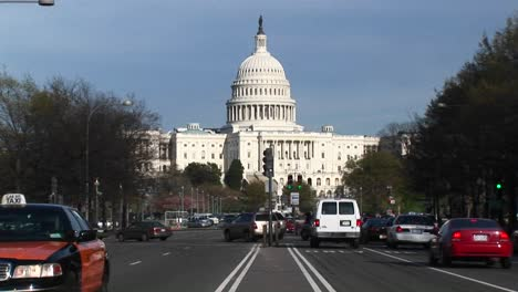 Traffic-Flows-In-Many-Directions-In-Front-Of-The-United-States-Capitol-Building