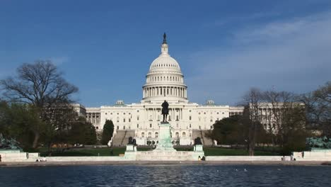 Camera-Zooming-Across-The-Reflecting-Pool-And-Focusing-On-The-Exterior-Of-The-Us-Capitol-Building-In-Washington-Dc
