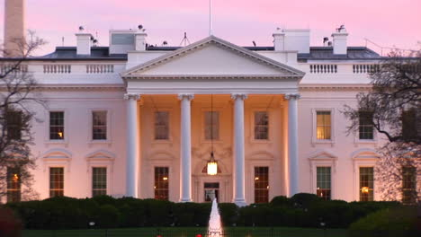 A-Picturesque-Look-At-The-White-House-With-Outside-Lights-On