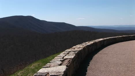 Longshot-Of-A-Low-Stone-Wall-Along-A-Road-In-The-Blue-Ridge-Mountains-Of-Virginia