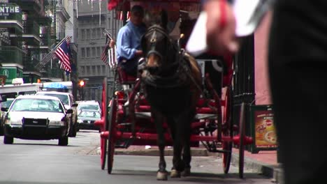 A-Muledrawn-Buggy-Makes-Its-Way-Down-A-Crowded-Street-In-New-Orleans