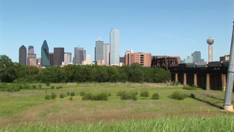 Dallas-Texas-On-A-Sunny-Day-With-A-Freight-Train-Passing