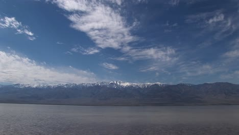 Longshot-Of-The-Badwater-Lake-With-The-Owlshead-Mountains-On-The-Horizon-In-Death-Valley-National-Park
