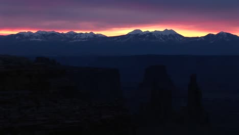 Long-Shot-Of-Snowcapped-La-Sal-Mountains-In-Canyonlands-National-Park-At-Goldenhour